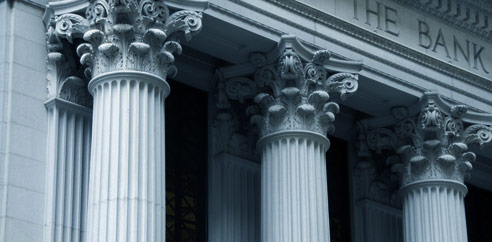 pillars in front of bank