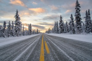 Alaska Remote Winter Highway at Sunset