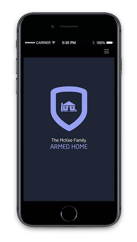 logged into security system mobile app