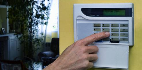 finger pressing security keypad