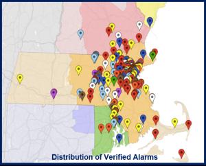 Distribution of Verified Alarms