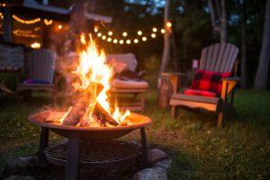 fire place glowing outside