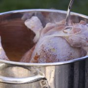Turkey being placed into a deep fryer