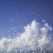 visualized data map on top of clouds