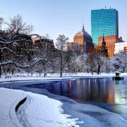 Snow covered Boston Public Garden.