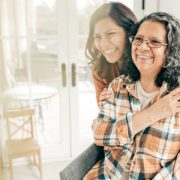 Elderly mother and daughter at home
