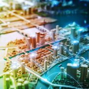An image of a city with lines illustrating the concept of mesh networks