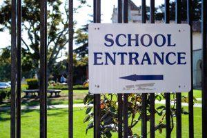 School entrance sign, school security