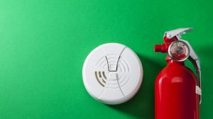 Fire extinguisher and smoke alarm, fire safety